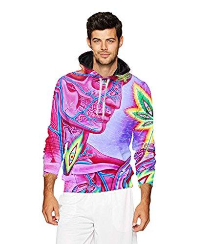 Men's 2018 Fashion Athletic Sweatshirts Trippy Marijuana Lea