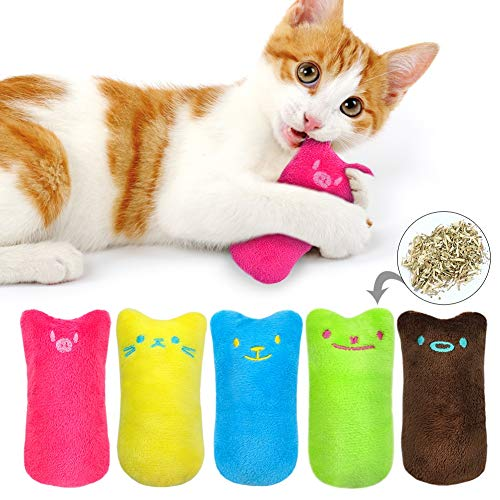 CheeseandU 5Packs Cat Catnip Toy Pet Kitten Claw Biting Chewing Teeth Grinding Mint Cat Toys Funny Interactive Training Catnip Plush Pillow Toy 5 Color for Cats Kittens