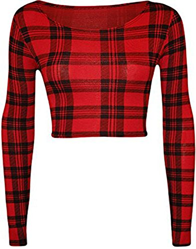 Fashion charming - Camiseta de manga larga - para mujer RED/TARTAN