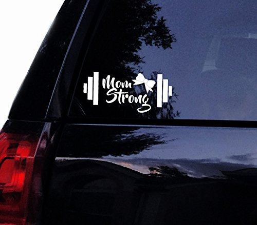 "Barbell Mom Strong Decal Girly Bow Vinyl Gym Fitness Weightlifter Gym Car Decal, Laptop Decal, Window Wall Sticker (5"", Black)"