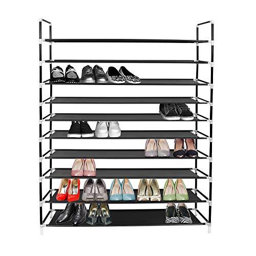 Azadx 10 Tiers Shoe Rack, Space Saving Shoe Tower Cabinet Storage Organizer, 39.37