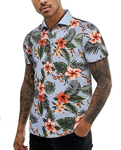 - URRU Men's Big and Tall Short Sleeve Casual Lapel Polo Print Neck Pullover T-Shirt Top Blouse Light Blue XXL