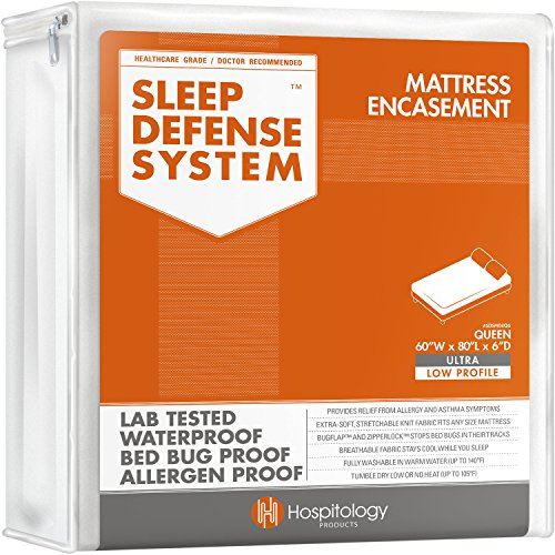 "HOSPITOLOGY PRODUCTS Sleep Defense System - Zippered Mattress Encasement - Queen - Hypoallergenic - Waterproof - Bed Bug & Dust Mite Proof - Stretchable - Ultra Low Profile 6"" Depth - 60"" W x 80"" L"