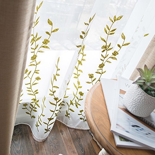 Melodieux Flower Embroidery Sheer Curtains Living Room Rod Pocket Voile Drape for Patio Sliding Glass Door, 100 by 84 Inch, White/Green (1 Panel)