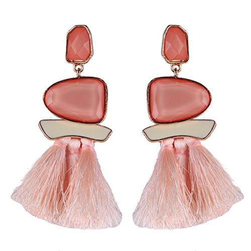 Izasky Tassel Earrings Dangle Style Trendy 5 Colors - Long Tassel Earrings Silk Dangle Drop Earrings For Women Fashion Jewelry Handmade (Pink)