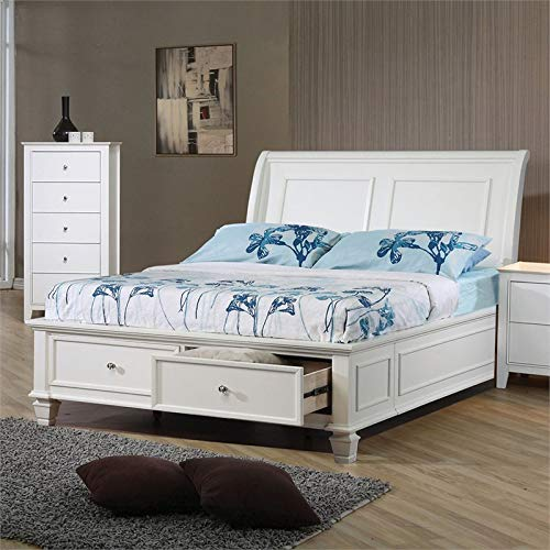 BOWERY HILL Full Storage Sleigh Bed in White by BOWERY HILL