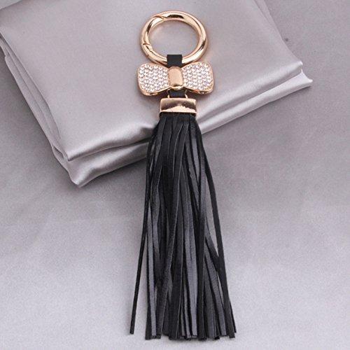(1 Pc Mini Pocket Leather Tassels Hanging w/Bow Keychain Keyring Keyfob Bag Pendant Keys Chains Rings Tags Strap Wrist Peerless Popular Cute Wristlet Utility Keyrings Tool Women Girls Gift, Type-05)