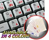 SPANISH (TRADITIONAL) KEYBOARD STICKER WITH RED LETTERING ON TRANSPARENT BACKGROUND FOR DESKTOP, LAPTOP AND NOTEBOOK