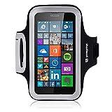 Lumia 640 Case, Shocksock Microsoft Lumia 640 Armband for Sports Gym Bike Cycle Jogging Running Workouts - Reflective Design - Dual Arm-Size Slots - Key Pocket - Black