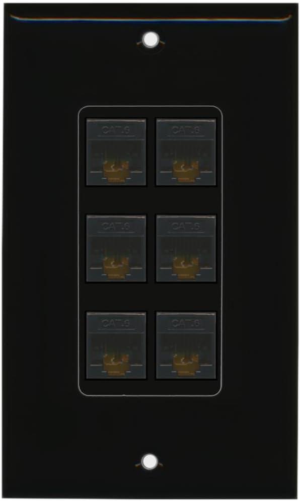 Black//Black RiteAV Decorative 1 Gang 1 Port Cat6 Wall Plate Bracket Included