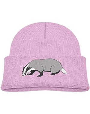 Kids Knitted Beanies Hat Badger Badger Winter Hat Knitted Skull Cap for Boys Girls Pink