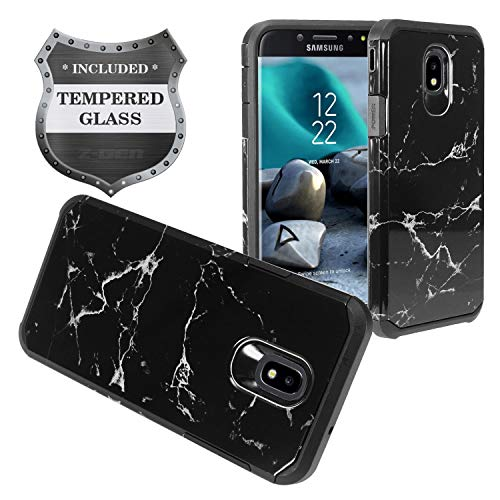 Stars Protector Design Case (Samsung Galaxy J7 (2018), J7 Refine, J7 Star, J7 Crown, J7 Aura, J7 Top, J7 V J7V 2nd Gen J737 - Hybrid Image Case + Tempered Glass Screen Protector - AD1 Black Marble)