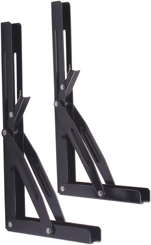"2Pcs 14"" Black Paint Folding Shelf Bench Table Folding Bracket Workbench, Powder Coated Short Release Arm"