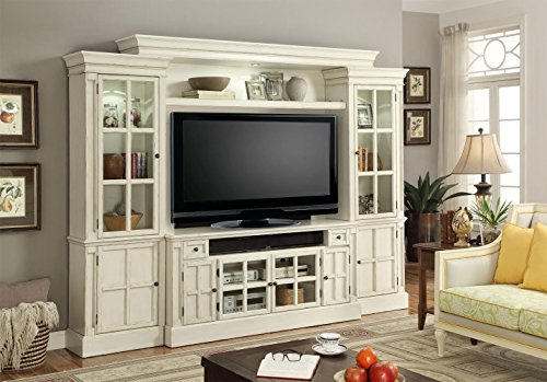 """White 4pc 62"""" Wall Entertainment Center Charlotte by Parker"""