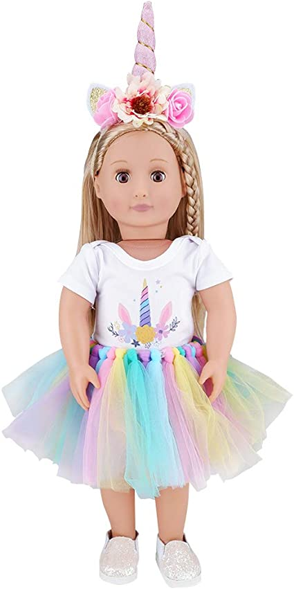 """Dress /& Hair Bow-Unicorn 18/"""" Doll Clothes-fit American Girl My Life"""