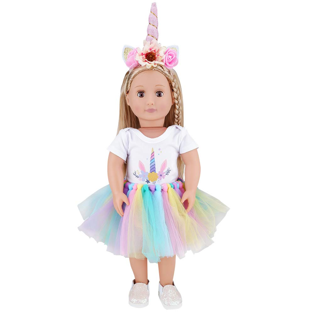 E-TING Dolls Unicorn Clothes, Headband, Tutu fits for 18 inch Dolls Like American Girl, Our Generation,My Life,Adora,Gotz Doll Accessories Costume Outfits.