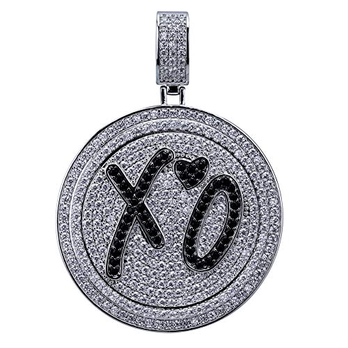 JINAO Micropave CZ Iced Out Spinner Round 69 Pendant Necklace Hip Hop Jewelry (White Gold - XO)