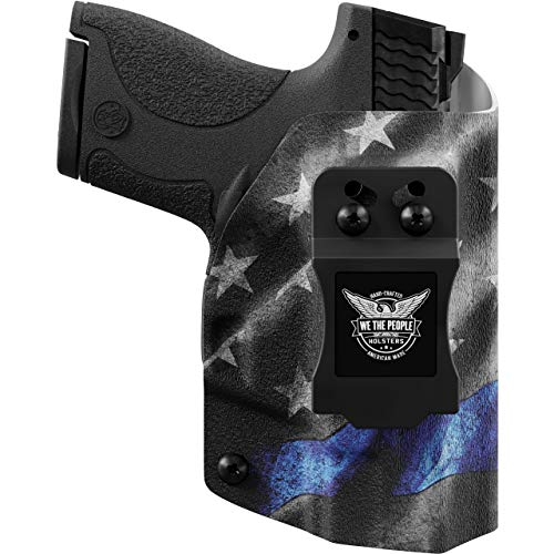 We The People - IWB Holster Compatible with Glock 19 23 32 45 19X Gen 3-4-5 Gun - Inside Waistband Concealed Carry Kydex Holster (Right Hand, Thin Blue Line)