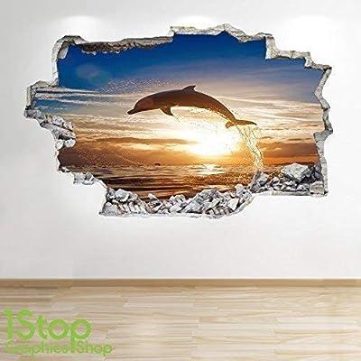 Delphin Sonnenuntergang Wand Aufkleber 3D Optik Meer Paradise Schlafzimmer