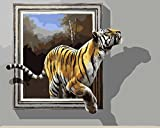 Version 3.0 HD Paint By Number Kits for Adults 3-dimension PBN Kit Paintworks Digital Diy Oil Painting Canvas Kits for Children Kids Beginner White Christmas Decorations Gifts - Tiger (N3, Framed)