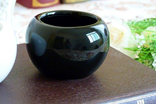 KissH Simple Continental Abstract Ball Ceramic Mini Fleshy Flower Pots Vases Black