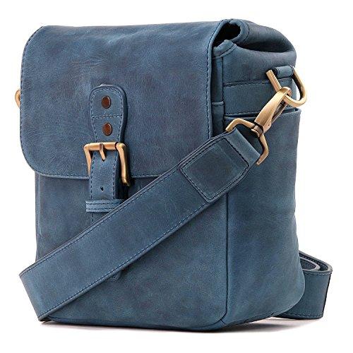MegaGear Genuine Leather Camera Messenger Bag for Mirrorless, Instant and DSLR, Blue (MG1330)