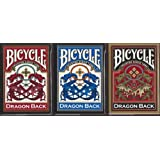 Bicycle Dragon Back Playing Cards 3 Deck Set 1 Gold, 1 Blue & 1 Red Deck