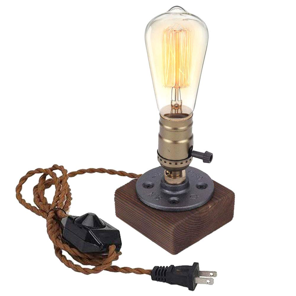 Wooden lamp Edison Lamp Dimmer Industrial lamp Steampunk lamp