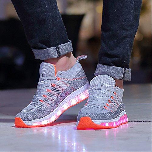 Leuchtende Leuchtschuhe Orange Aufladen Sportschuhe Farben Herren USB LED Damen Sneaker Blinkschuhe Licht 7 Blinkende Grau Turnschuhe Schuhe 77aT1nR