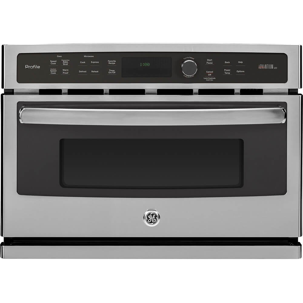 "GE PSB9100SFSS Profile Advantium 27"" Stainless Steel Electric Single Wall Oven - Convection - Speed Oven"