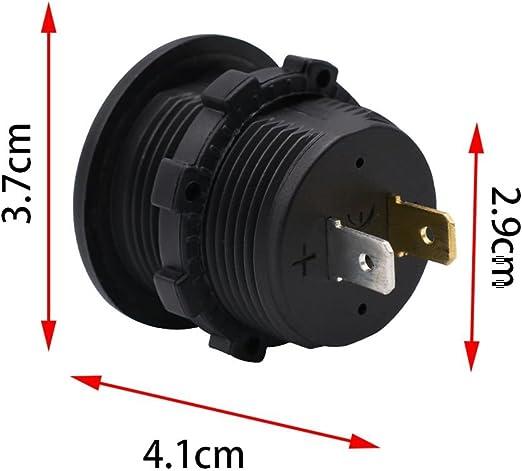 Kamenda Impermeable DC12V RD Voltimetro Digital Tres alambres Vehiculos Motocicletas Barco Coches Medidor de Panel de Voltaje Color de Pantalla LED