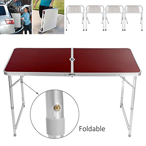 Miageek Patio Portable Folding Aluminum Camping Table with 4 Stools for Outdoor, Camping, Picnic, BBQ, Party, Dining 1 Camping Table with 4 Stools