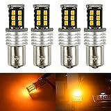 1156a led bulb amber - KaTur 4pcs High Power 800 Lumens Super Bright 1156 P21W BA15S 1141 7506 LED 15SMD 2835 Backup Reverse Tail Brake Lights Parking LED Bulbs DC 12V Amber