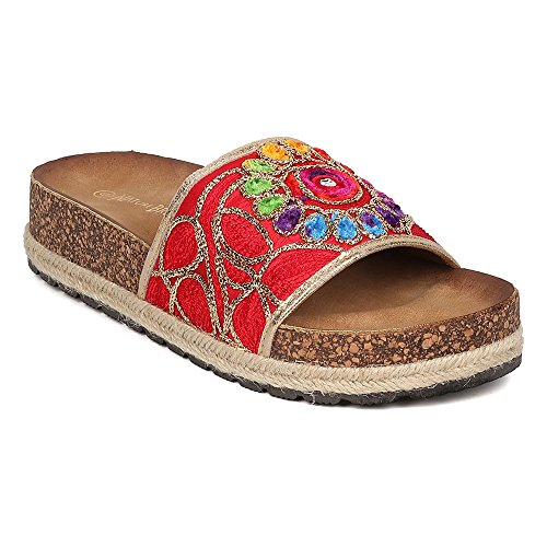 Print Single Strap Slippers Embroidered Cork Footbed Slides Hippie Slip On Shoes Espadrille Sandals Red 7 (Print Footbed)