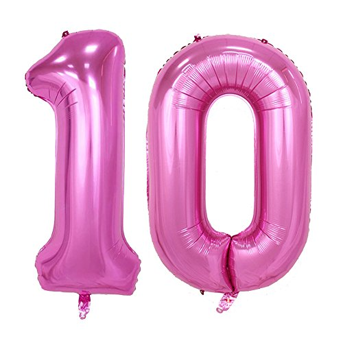 Tellpet Pink Number 10 Balloon, 40'' - 10 Balloons