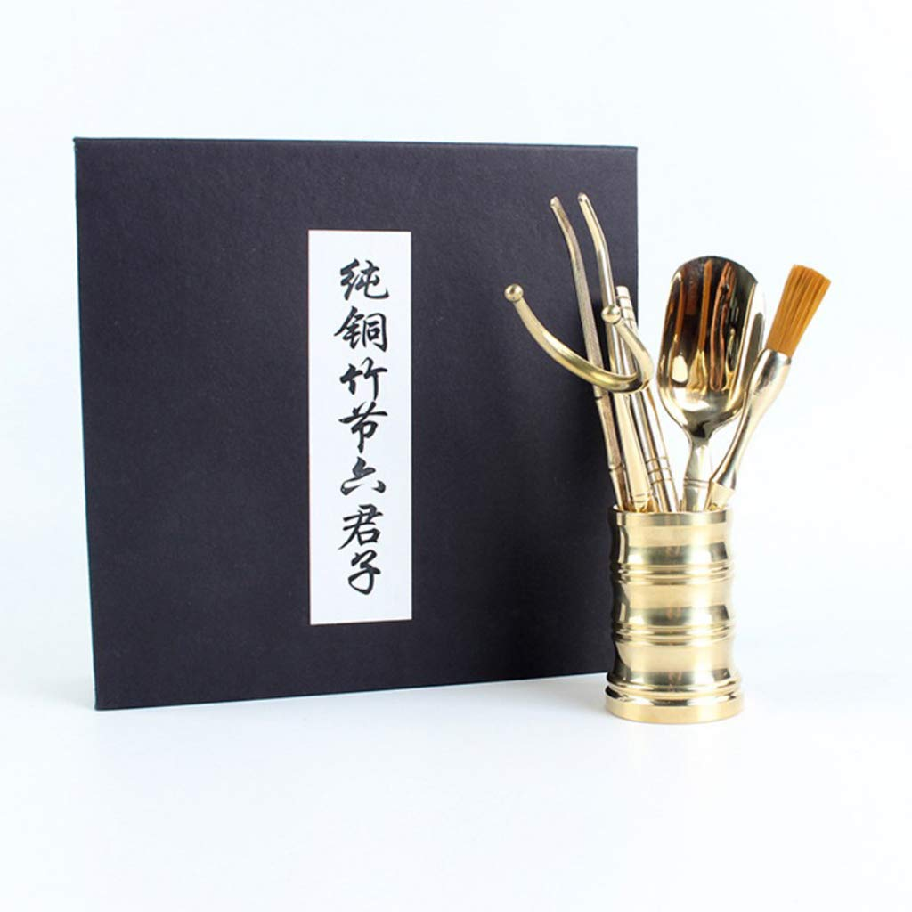 Flameer 6 Pieces Copper Material Chinese Cha Dao Tea Utensils Tools Set Home Decor by Flameer (Image #6)