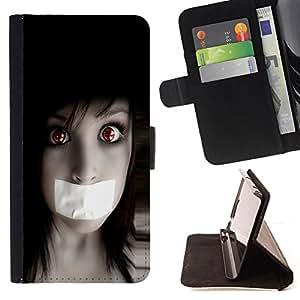 BullDog Case - FOR/Samsung Galaxy S5 Mini, SM-G800 / - / Anime Goth Girl /- Monedero de cuero de la PU Llevar cubierta de la caja con el ID Credit Card Slots Flip funda de cuer