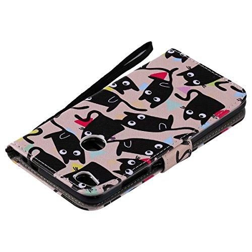 LEMORRY Huawei P8 Lite (2017) Hülle Tasche Ledertasche Flip Beutel Haut Slim Bumper Schutz Magnetisch Schließung SchutzHülle Weich Silikon Cover Schale für Huawei P8 Lite (2017), Comic Katze
