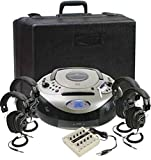 Califone 1886PLC 4-Person Spirit SD Stereo Listening Center, Includes 1886 Boombox Multimedia Player, Carry/Storage Case, One 10 position jackbox and Four 3068AV Headphones