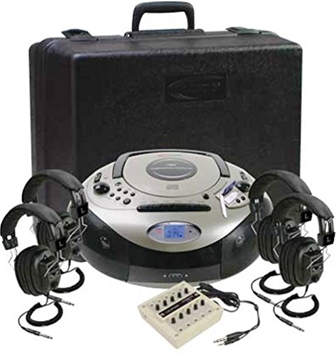 Califone 1886PLC 4-Person Spirit SD Stereo Listening Center, Includes 1886 Boombox Multimedia Player, Carry/Storage Case, One 10 position jackbox and Four 3068AV Headphones by Califone
