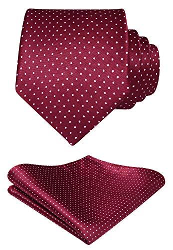 HISDERN Extra Long Polka Dot Tie Handkerchief Men