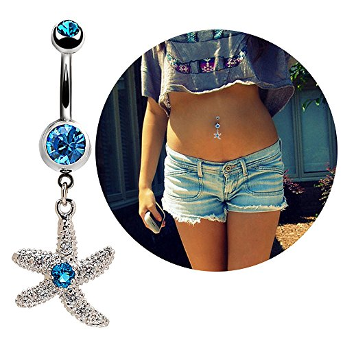 14G Belly Button Navel Ring Surgical Steel Curved Barbell Bananabell Sapphire Starfish Piercing Jewelry
