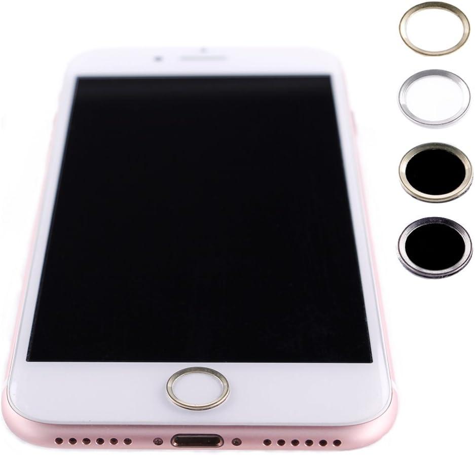 Protector Botón Home Menú para iPhone 5S / SE / 6/6 Plus / 6S / 6S Plus / 7/7 Plus / 8/8 Plus, Anillo Plateado y Blanco