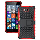 DWay Microsoft Lumia 650 Case Hybrid Armor Design with Stand Feature Detachable Dual Layer Protective Shell Hard Back Cover Case for Nokia Microsoft Lumia 650 5.0 inches (Red)