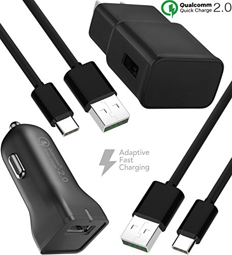 Galaxy S9 Fast Wall and Car Charger Set with 2x Type-C 2.0 C