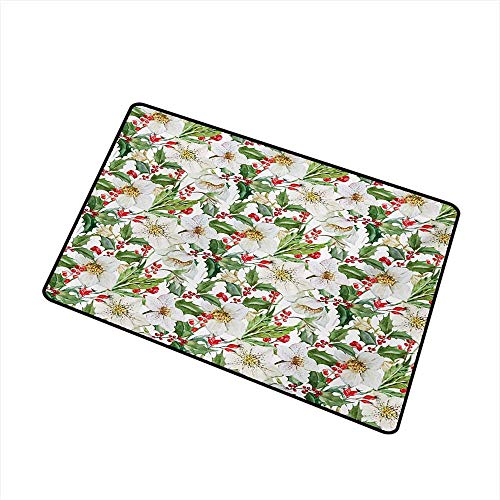 (Diycon Door mat Customization Watercolor Christmas Themed Floral Poinsettia Winter Inspirations Berries Leaf W30 xL39 Machine wash/Non-Slip)