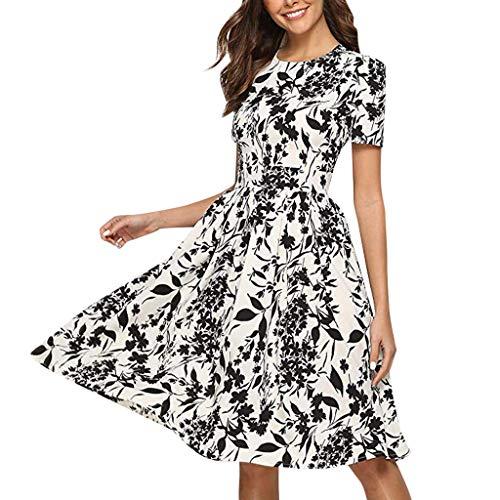 Summer Dress Womens Fashion O-Neck Rose Floral Print Short Sleeve Knee-Length Bohemian Casual Mini Dress by JUSTnowok