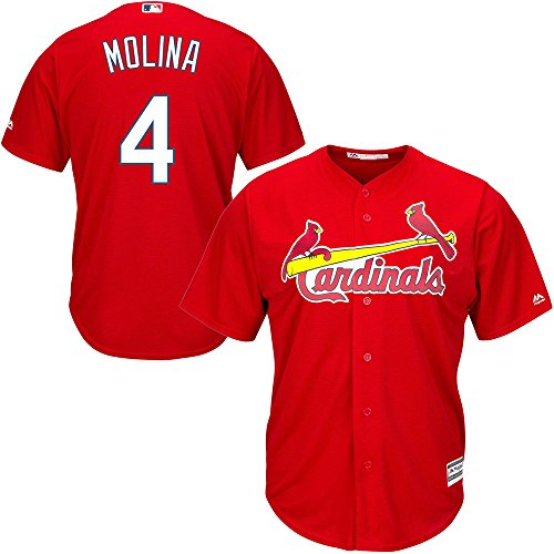 (Majestic Athletic Yadier Molina St. Louis Cardinals Youth Red Alternate Cool Base Replica Jersey Medium)