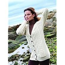 100% Merino Wool Aran Crafts Ladies Boyfriend Cardigan Natural