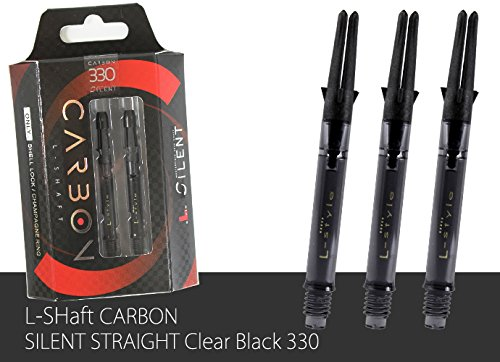 L-Style L-Shaft Medium Silent Spin Straight Carbon Clear Black 330 Dart Shaft Set of 3